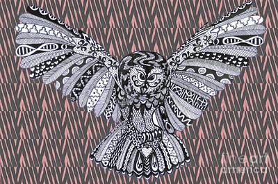Owl In Flight Pink Zebra Poster
