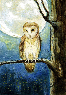 Poster featuring the painting Owl Moon by Terry Webb Harshman