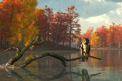 Owl On An Autumn Lake Poster by Daniel Eskridge