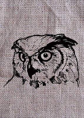 Owl On Burlap Poster