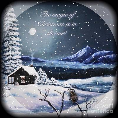 Owl Watch On A Cold Winter's Night With Snow Globe Effect Poster by Kimberlee Baxter