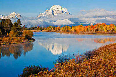 Oxbow Bend In Autumn Poster by Guy Schmickle