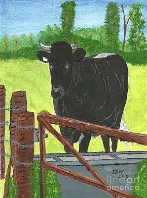 Poster featuring the painting Oxleaze Bull by John Williams