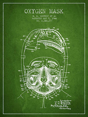 Oxygen Mask Patent From 1944 - One - Green Poster by Aged Pixel