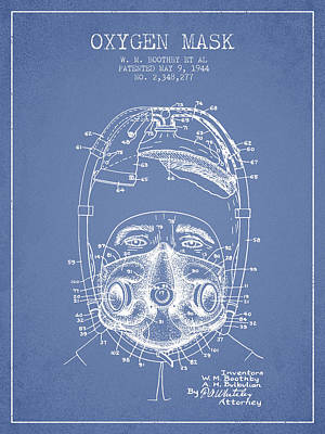 Oxygen Mask Patent From 1944 - One - Light Blue Poster by Aged Pixel
