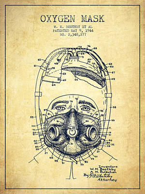 Oxygen Mask Patent From 1944 - One - Vintage Poster by Aged Pixel