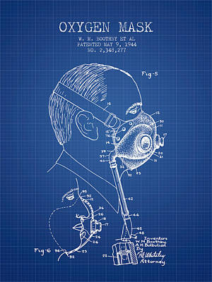 Oxygen Mask Patent From 1944 - Three - Blueprint Poster by Aged Pixel