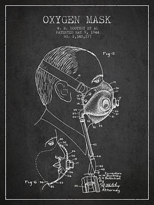 Oxygen Mask Patent From 1944 - Three - Charcoal Poster by Aged Pixel