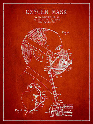 Oxygen Mask Patent From 1944 - Three - Red Poster by Aged Pixel