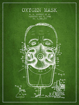 Oxygen Mask Patent From 1944 - Two - Green Poster by Aged Pixel