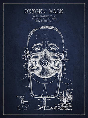 Oxygen Mask Patent From 1944 - Two - Navy Blue Poster by Aged Pixel