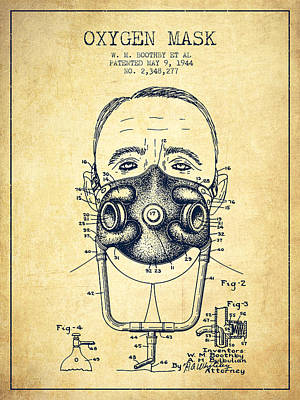 Oxygen Mask Patent From 1944 - Two - Vintage Poster by Aged Pixel
