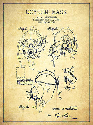 Oxygen Mask Patent From 1944 - Vintage Poster by Aged Pixel