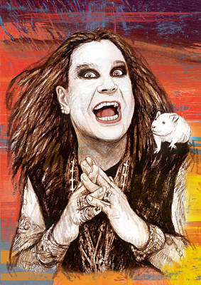 Ozzy Osbourne Long Stylised Drawing Art Poster Poster by Kim Wang