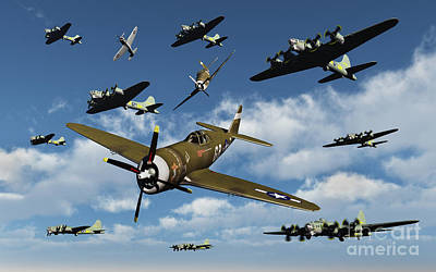 P-47 Thunderbolts Escorting B-17 Flying Poster by Stocktrek Images