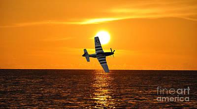 P-51 Sunset Poster by John Black