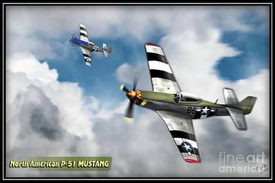P51 Mustangs In Flight Poster by John Wills