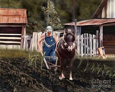 Pa Dee Plowing Poster by Linda Gleason Ritcie