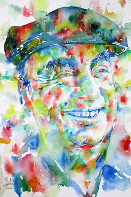 Pablo Neruda - Watercolor Portrait.1 Poster by Fabrizio Cassetta