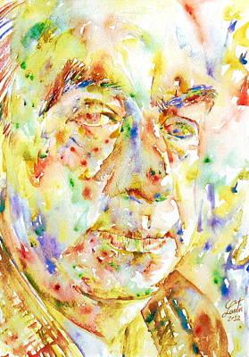 Pablo Neruda - Watercolor Portrait.3 Poster by Fabrizio Cassetta