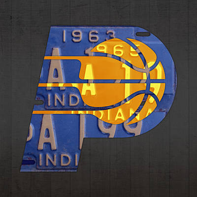 Pacers Basketball Team Logo Vintage Recycled Indiana License Plate Art Poster