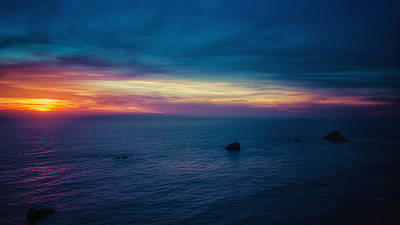 Pacific Coast Sunset Poster by Ron Williams