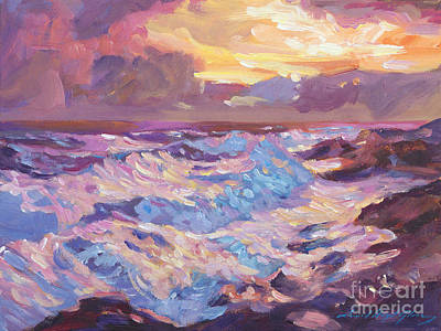 Pacific Shores Sunset Poster by David Lloyd Glover