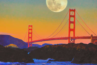 Poster featuring the painting Pacific Sunset - Golden Gate Bridge And Moonrise by Douglas MooreZart