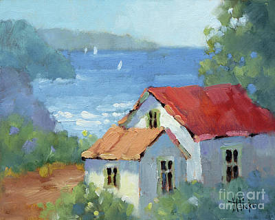 Pacific View Cottage Poster by Joyce Hicks