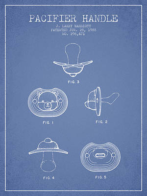 Pacifier Handle Patent From 1988 - Light Blue Poster