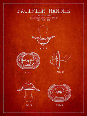 Pacifier Handle Patent From 1988 - Red Poster