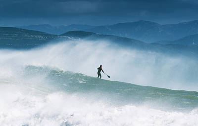 Paddleboarding In The Waves Along The Poster
