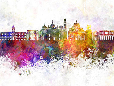 Padua Skyline In Watercolor Background Poster