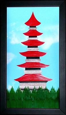 Poster featuring the mixed media Pagoda by Ron Davidson