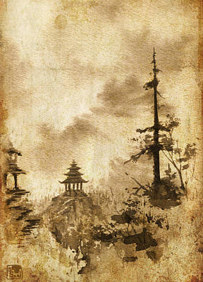 Poster featuring the painting Pagoda Valley Altered by Sean Seal