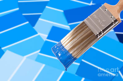 Paint Brush - Blue Poster by Amanda Elwell