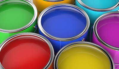 Paint Cans Open Poster by Bruno Haver