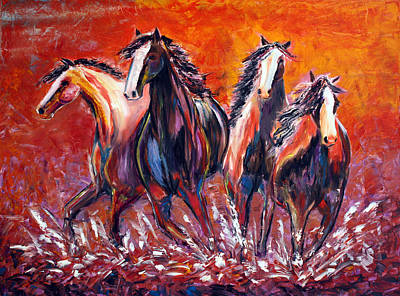 Poster featuring the painting Paint Horse Stampede by Jennifer Godshalk
