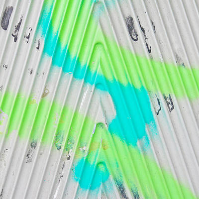 Paint Lines On Metal Poster by Tom Gowanlock