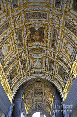 Painted Ceiling Of Staircase In Doges Palace Poster by Sami Sarkis