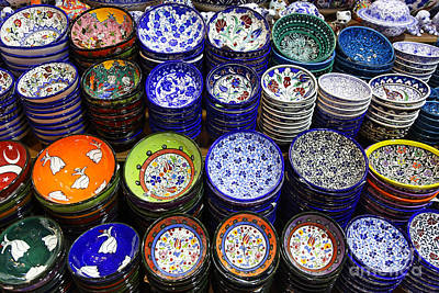Painted Ceramic Bowls In The Grand Bazaar Istanbul Poster