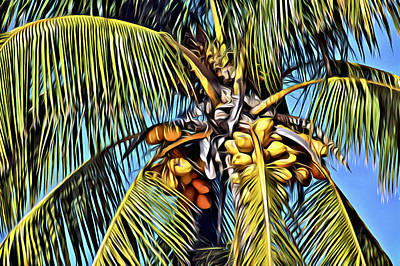 Painted Coconut Palm Poster