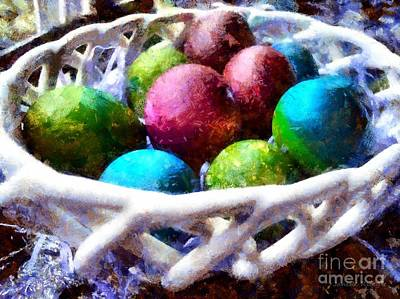 Painted Easter Eggs In A Basket Poster by Janine Riley