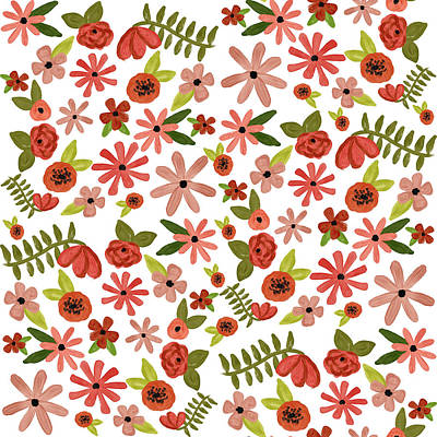 Painted Flowers Poster