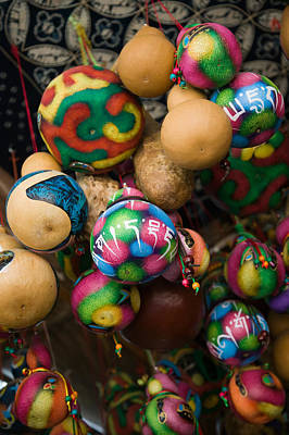 Painted Gourds For Sale In A Street Poster by Panoramic Images