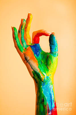 Painted Hand With Ok Sign Poster by Michal Bednarek