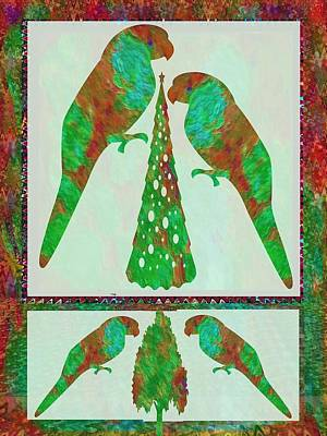 Painted Parrot Family Celebrating Christmas Poster