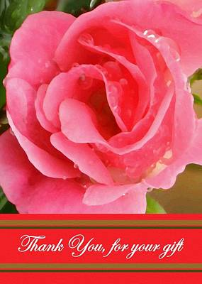 Painted Pink Rose Poster