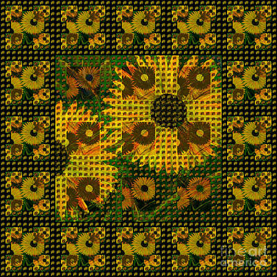 Painted Sunflower Abstract Poster