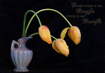 Painted Tulips With Message Poster